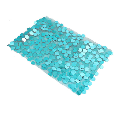 5 Pack - Turquoise Big Payette Sequin Round Chair Sashes