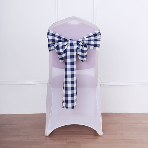 Gingham Chair Sashes | 5 PCS | Navy Blue/White | Buffalo Plaid Checkered Polyester Chair Sashes