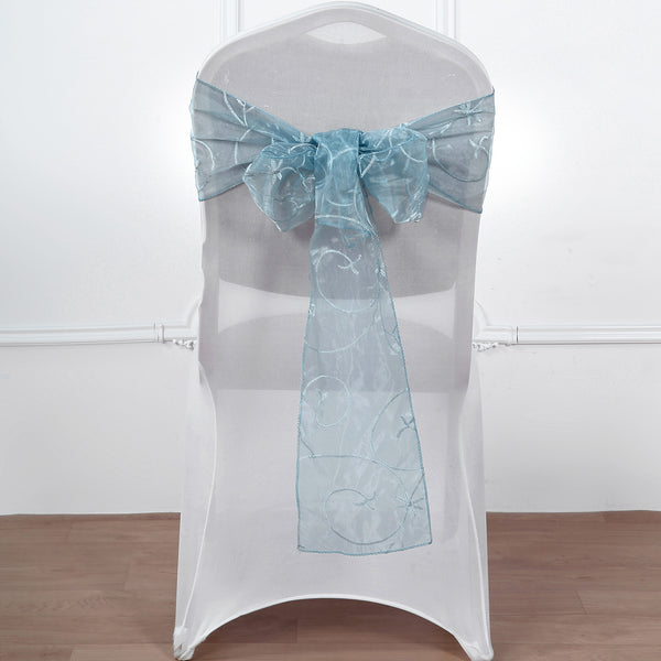 "5 PCS | 7""x108"" Dusty Blue Embroidered Organza Chair Sashes"