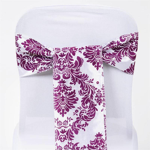 "5 Pack | 6""x108"" Damask Flocking Taffeta Chair Sashes - Eggplant 