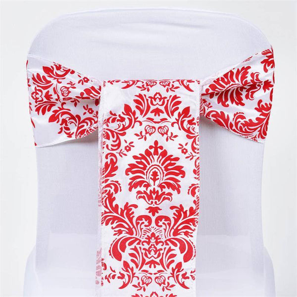 "5 Pack | 6""x108"" Damask Flocking Taffeta Chair Sashes - Red 