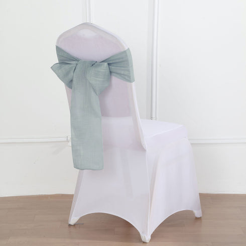 5 Pack | Dusty Blue Linen Chair Sashes, Slubby Textured Wrinkle Resistant Sashes