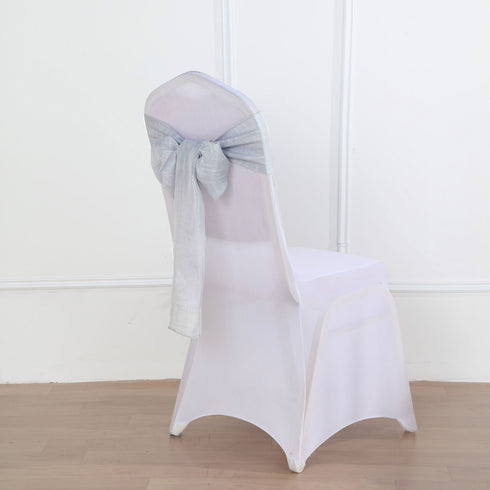 5 Pack | Silver Linen Chair Sashes, Slubby Textured Wrinkle Resistant Sashes
