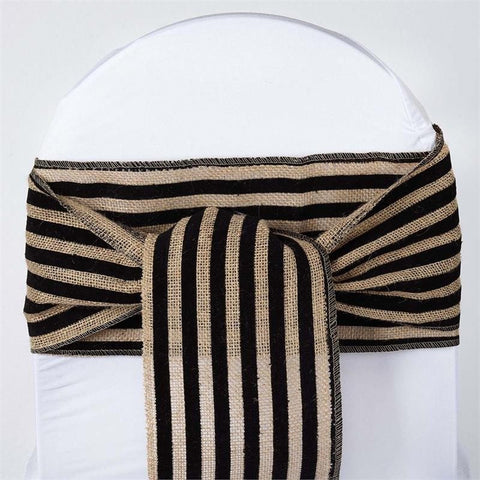 CHAMBURY CASA Splendid Burlap Chair Sash Natural Tone + Black Stripes