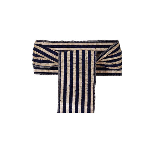 Natural Tone Burlap Jute 1 Piece Chair Sash With Navy Blue Stripes