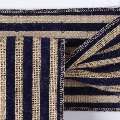 CHAMBURY CASA Splendid Burlap Chair Sash Natural Tone + Navy Blue Stripes