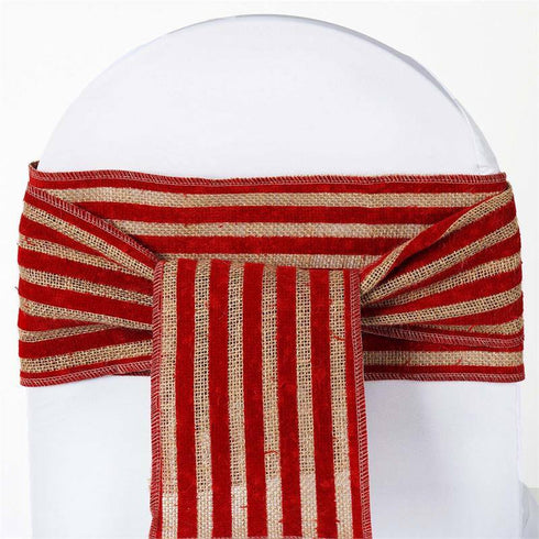 CHAMBURY CASA Splendid Burlap Chair Sash Natural Tone + Red Stripes