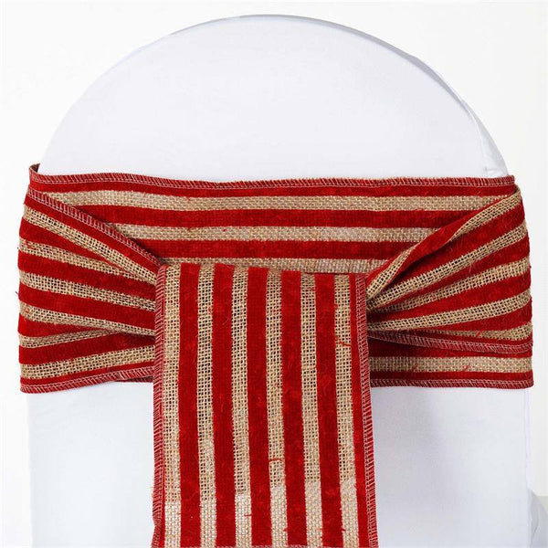 Natural Tone Burlap Jute 1 Piece Chair Sash With Red Stripes