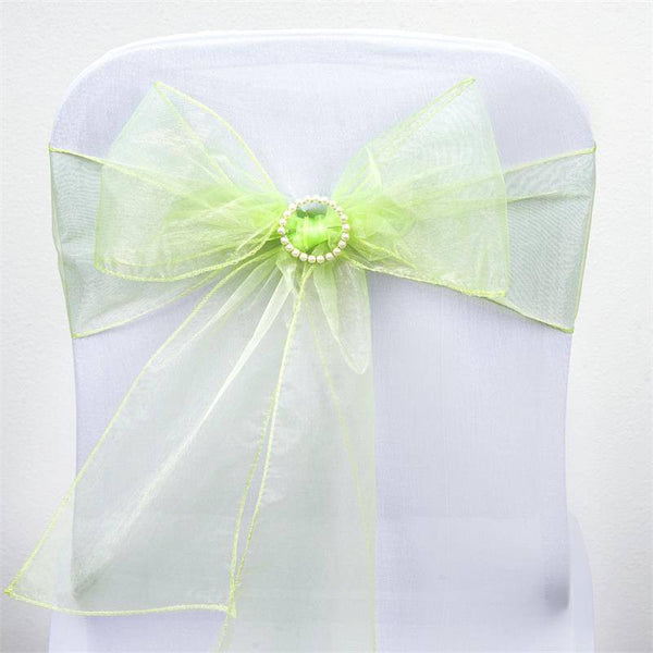 5 PCS | Apple Green Sheer Organza Chair Sashes