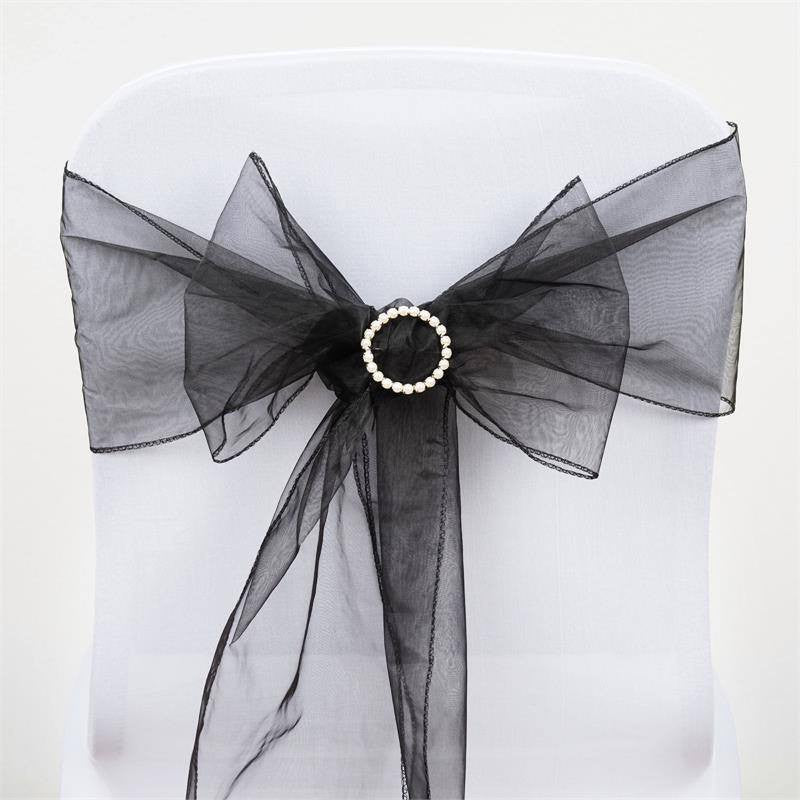 5pc x Black Organza Chair Sash