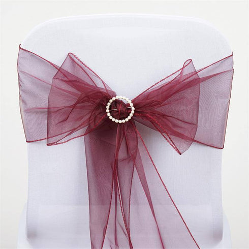 5pc x Burgundy Organza Chair Sash