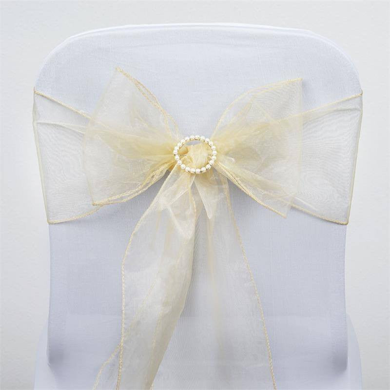 5pc x Champagne Organza Chair Sash