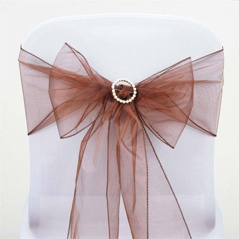 5pc x Chocolate Organza Chair Sash