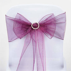 5pc x Eggplant Organza Chair Sash