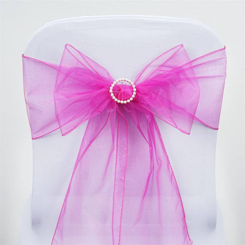 5pc x Fushia / Hot Pink Organza Chair Sash