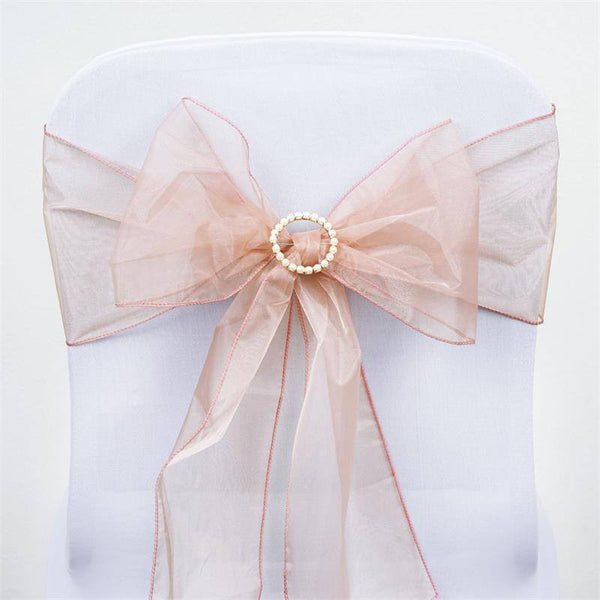 5 PCS | Dusty Rose Sheer Organza Chair Sashes