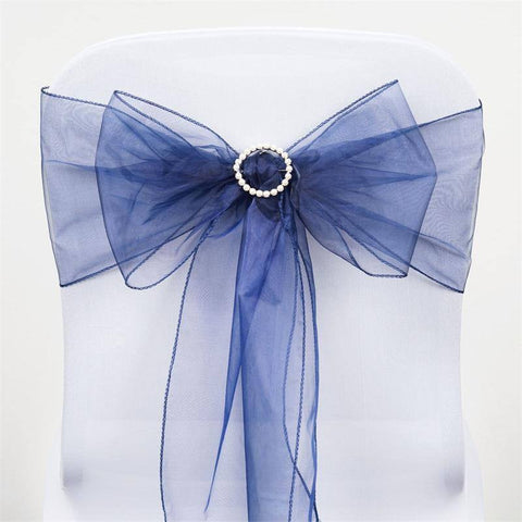 5pc x Navy Blue Organza Chair Sash