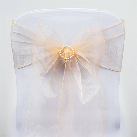 5pc x Peach Organza Chair Sash