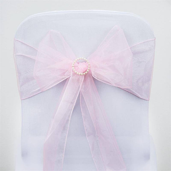 5 PCS | Pink Sheer Organza Chair Sashes