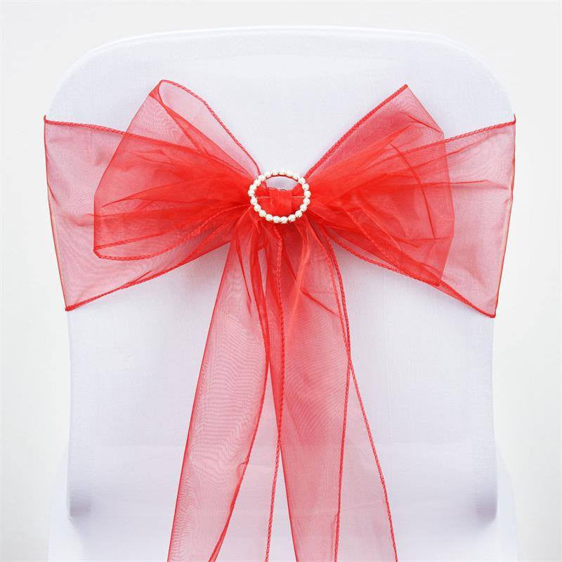 5pc x Red Organza Chair Sash