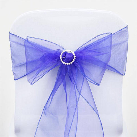 5pc x Royal Blue Organza Chair Sash