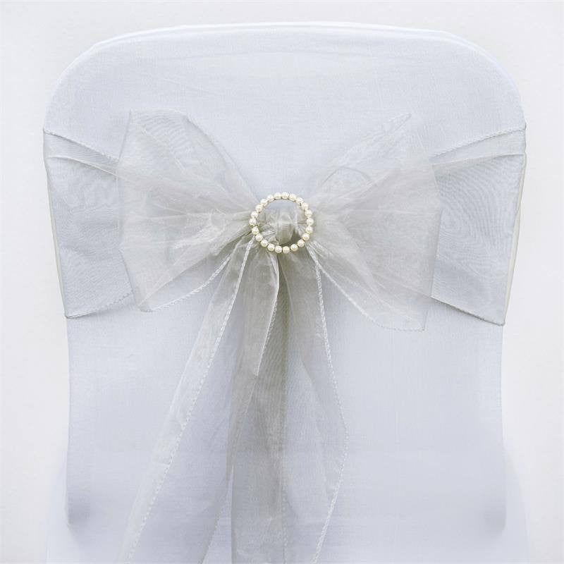 5pc x Silver Organza Chair Sash