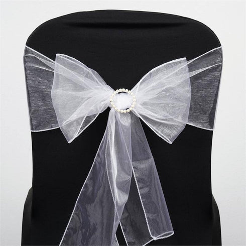 5pc x White Organza Chair Sash