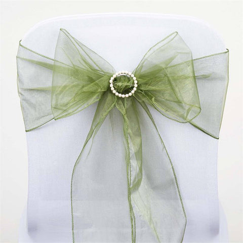 5pc x Organza Green Chair Sash - Moss/Willow