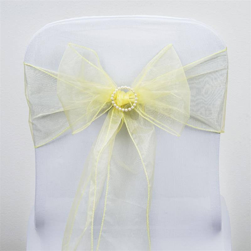 5pc x Yellow Organza Chair Sash