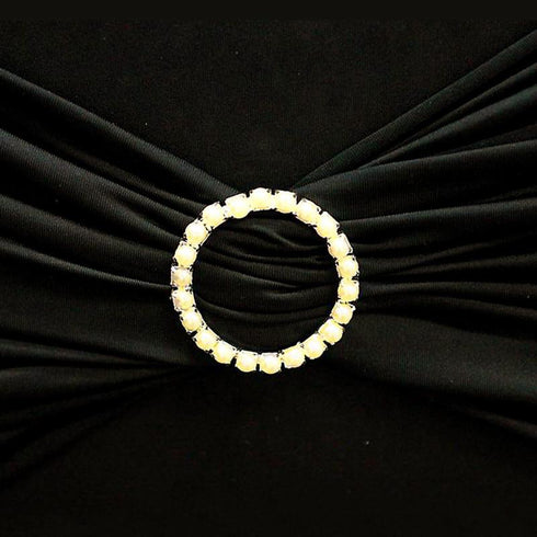 "2"" Ivory Circle Pearl Buckle Chair Sash"