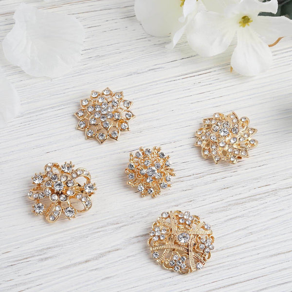 5 Pcs - Assorted Gold Plated Mandala Crystal Rhinestone Brooches - Floral Sash Pin Brooch Bouquet Decor