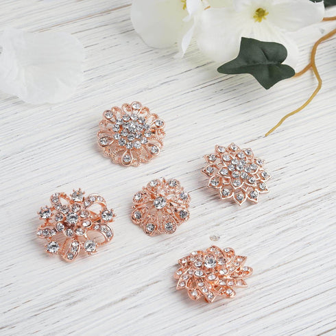 5 Pcs - Assorted Rose Gold Plated Mandala Crystal Rhinestone Brooches - Floral Sash Pin Brooch Bouquet Decor