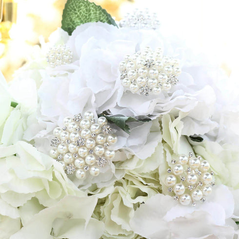 5 Pcs - Ivory - White Dual Color Pearl and Rhinestone Brooches - Floral Sash Pin Brooch Bouquet Decor