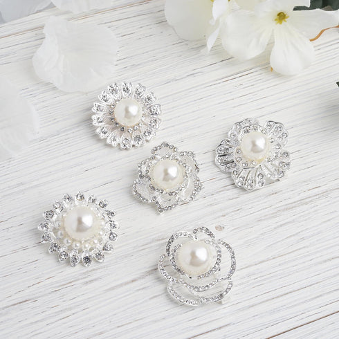 5 Pcs - Assorted Silver Plated Rhinestone Brooches with Pearl Center - Floral Sash Pin Brooch Bouquet Decor