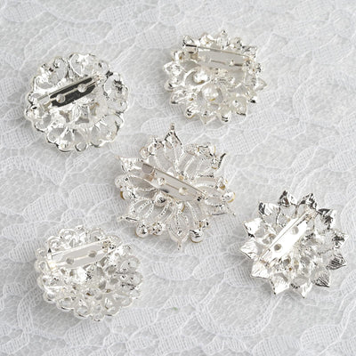 35009c58cee4b 5 Pcs | Assorted Silver Plated Mandala Crystal Rhinestone Brooches | Floral  Sash Pin Brooch Bouquet Decor