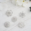 5 Pcs - Assorted Silver Plated Mandala Crystal Rhinestone Brooches - Floral Sash Pin Brooch Bouquet Decor