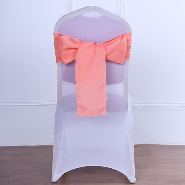 "5 PCS | 6"" x 108"" Coral Polyester Chair Sash"