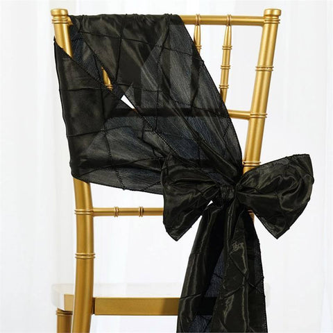 5pc x Black Pintuck Chair Sash