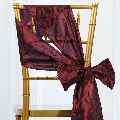 5pc x Burgundy Pintuck Chair Sash