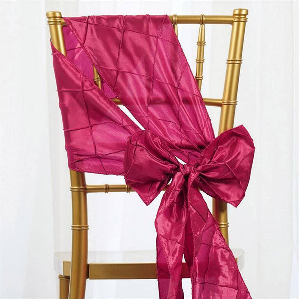 "5 PCS | 7""x106"" Fushia Pintuck Chair Sash"