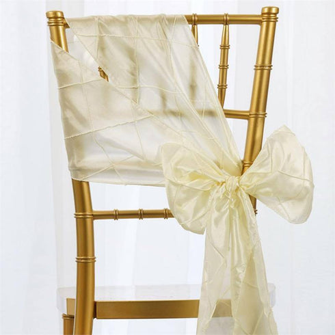 5pc x Ivory Pintuck Chair Sash