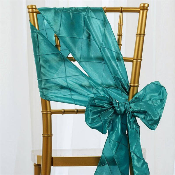 "5 PCS | 7""x106"" Turquoise Pintuck Chair Sash"