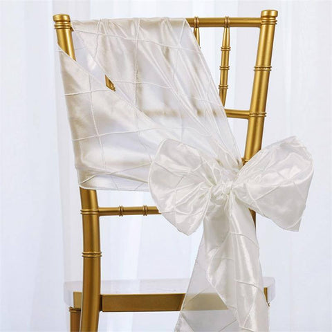 5pc x White Pintuck Chair Sash