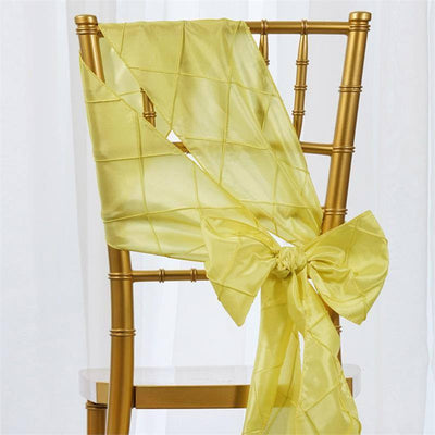 5pc x Yellow Pintuck Chair Sash