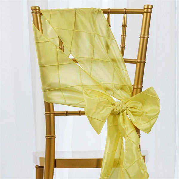 "5 PCS | 7x106"" Yellow Pintuck Chair Sash"