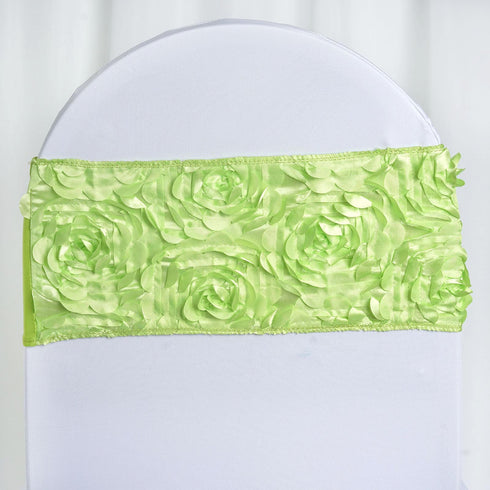 "5 pack | 6""x12"" Apple Green Satin Rosette Spandex Stretch Chair Sash"