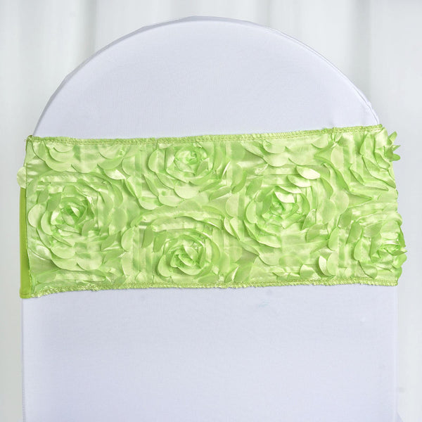 "5 pack | 6""x14"" Apple Green Satin Rosette Spandex Stretch Chair Sash"