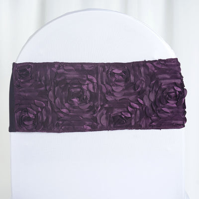 "5 pack | 6""x12"" Eggplant Satin Rosette Spandex Stretch Chair Sash"