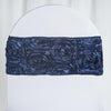"5 pack | 6""x12"" Navy Blue Satin Rosette Spandex Stretch Chair Sash"