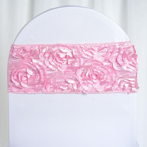 "5 pack | 6""x12"" Pink Satin Rosette Spandex Stretch Chair Sash"
